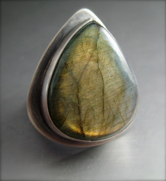 reserved for lauramacmac.  Orange Flash.  Labradorite Ring.  Oxidized Sterling Silver.