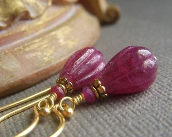 Genuine Ruby Earrings, Carved Precious Gem, Teardrop Real Ruby Dangle Earrings on Gold Vermeil