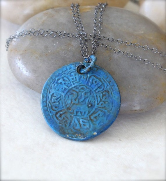 Oxidized Sterling Silver Necklace with Blue Patinated Coin Pendant - Ancient // I014