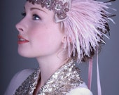 Champagne Pink And Antique Copper Ostrich Feather Flapper Headband Great Gatsby, Roaring 20's