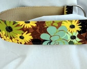 chain martingale dog collar, hidden garden, limited slip style, 1.5 inches wide, adjustable, ready to ship