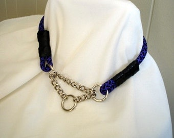 MADE TO ORDER - Climbing Rope Dog Collar - Rope Dog Collar - Chain Martingale - Half Check - 8mm Purple Climbing Rope - Limited Slip