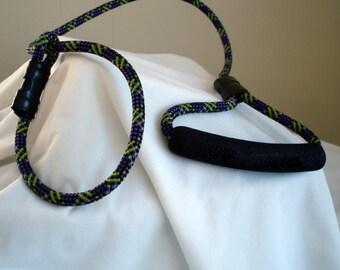 READY TO SHIP - Slip Collar Lead - Slip Collar Dog Leash - 3 Feet Long - 8mm Purple and Green Climbing Rope - Comfort Handle