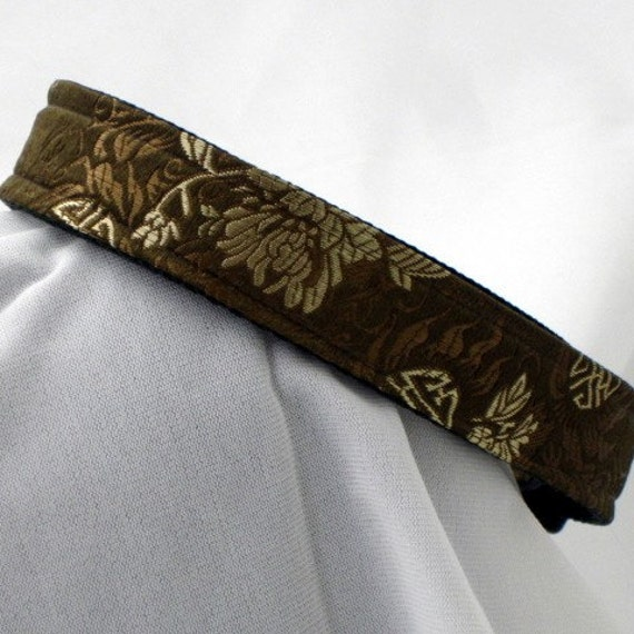 smoking jacket dog collar, 1 inch wide, adjustable, large to extra large, ready to ship