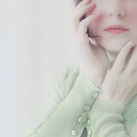 Ethereal Portrait, Marie,  5x5 Print, Female, Mint Green, Soft White, Pale Green, Portraiture, Dreamy Photograph