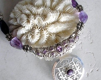 Amethyst Statement Necklace Star Ruby Sterling Silver Birthstone Jewelry Metaphysical Healing Stones