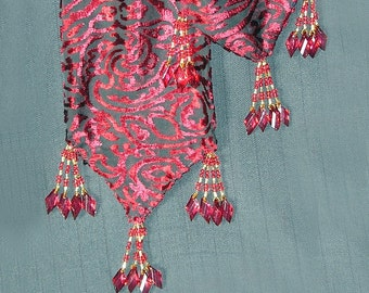 Cut Velvet Red Scarf Skinny Sash Bead Tassels Versatile Wearable Art
