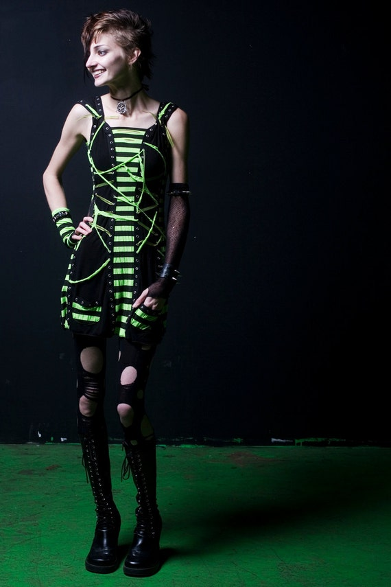 Distressed Neon Green and Black Striped SLAYER Dress : S - M