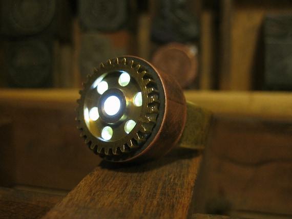 Antique Gear Copper Steam Punk Ring - Adjustable