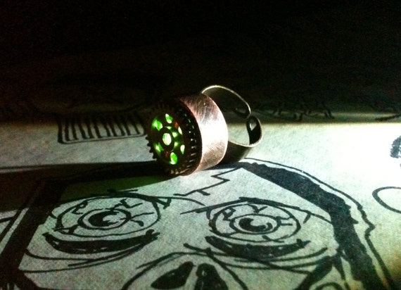 Green Light Copper Steam Punk Night Light Ring - Adjustable