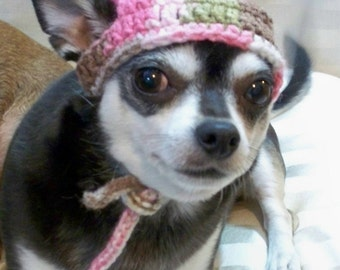 Dog hat crocheted Pink camouflage Xsmall or Small or Medium