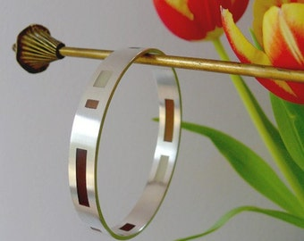Resin window bangle (brown & cream)