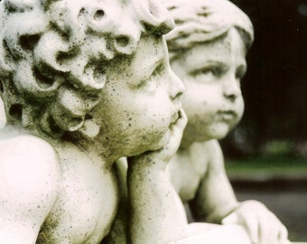 What Are You Thinking - Chubby Stone Cherub Faces - Matted Photo Art - Original Color Film Photograph by Suzanne MacCrone Rogers
