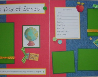 12x12 Premade Scrapbook Pages - school layout -- My FIRST DAY Of SCHOOL -- boy, girl, kindergarten, 1st grade, 2nd, 3rd, 4th, 5th, 6th, 7th