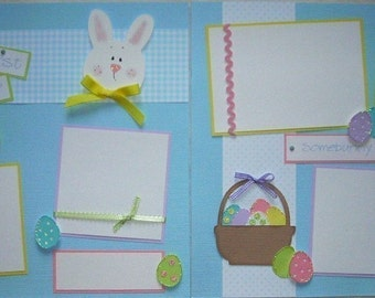 Premade 12x12 Scrapbook Pages -- BABY'S FIRST EASTER -- baby boy first year album, baby's first holidays, 1st year, scrapbooking layout