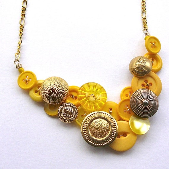 Statement Button Bib Necklace Gold Brass and Yellow