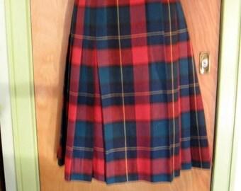 Vintage Tartan Plaid Kilt Skirt Size 8