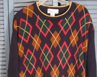 Vintage Argyle  Sweater from Milano Design Group SZ  MEDIUM