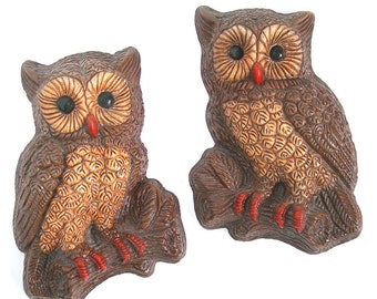 Horned Owl Wall Hangings Pair, Brown Owls, Vintage c1960-70s, Woodland Home Decor