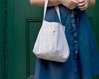 Linen Purse, The Minimalist, in Gray
