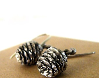 Pine Cone Dangle Earrings Sterling Silver Woodland Series