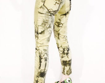 30% OFF SALE Agoraphoix To Dye For decay yellow khaki tie dye pants | Skinny Jeans