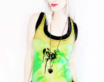 30% OFF SALE To Dye For neon green heart & bird print fishnet ombre racer back tank
