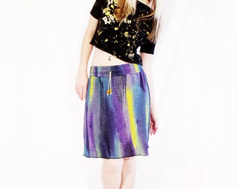 50% OFF SALE Agoraphobix To Dye For purple blue yellow rainbow ombre draw string skater skirt