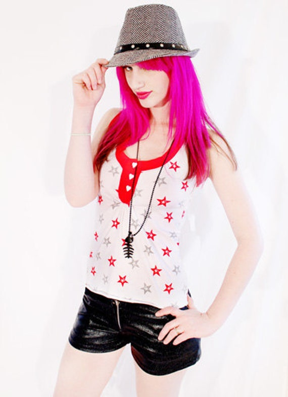 Agoraphobix Street Beat Nautical star print heart button racer back tank