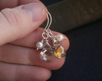 Silver earrings, crystal earrings, Swarovski Crystal teardrop, handmade sterling silver ear wires, bridesmaid earrings, bridesmaid gift