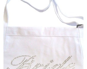 Sparkly Rhinestone Bride Apron - Casual Bride Font - Reception Apron for Cake Cutting Ceremony