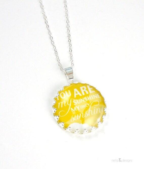 "You are my sunshine Necklace - 18"" chain, sun jewelry, silver sun necklace, sun charm"