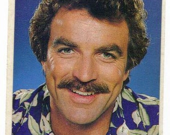 Rare Vintage Tom Selleck as Magnum, P.I. Sticker 80's style A