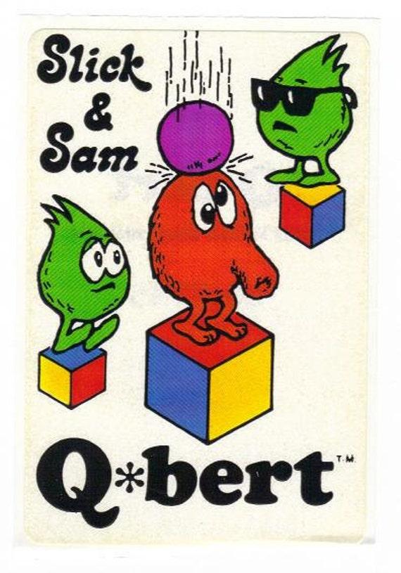 Vintage 1983 Arcade Q bert Slick and Sam sticker mod 80's