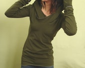 extra long sleeved hooded top Dark Olive Green