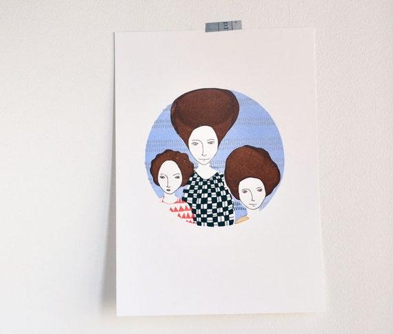 Big Headed Women - original art gocco print