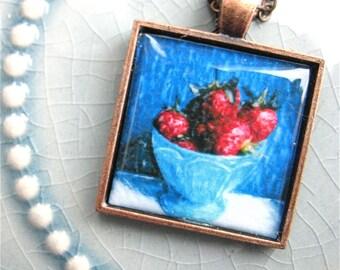 Strawberry Pendant - Photo art Pendant