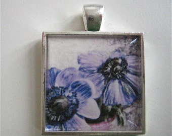 Purple Anemones Pendant - Flower Pendant