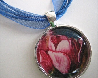 Pink Tulip Pendant  - Flower Pendant