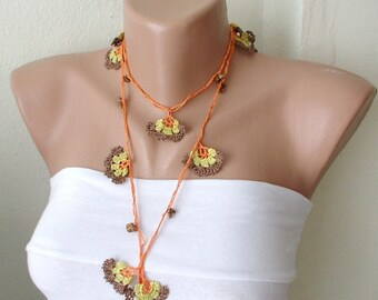Orange, brown, yellow and brown bead flower Necklace, Lariat, Bracelet - Turkish lace Work-OOAK, Christmas Gift