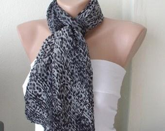 Leopard ..Chiffon... Scarf...Grey and Black...Ruffle...