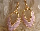 Russian Leaf Earrings - Gold Fleck Petunia