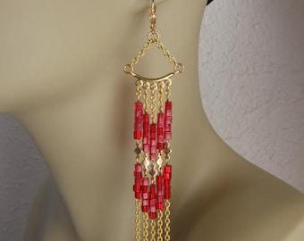 Long Chain Dangle Earrings - Red