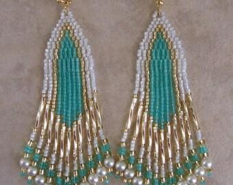 SALE - Seed Bead Earrings - Minty Aqua