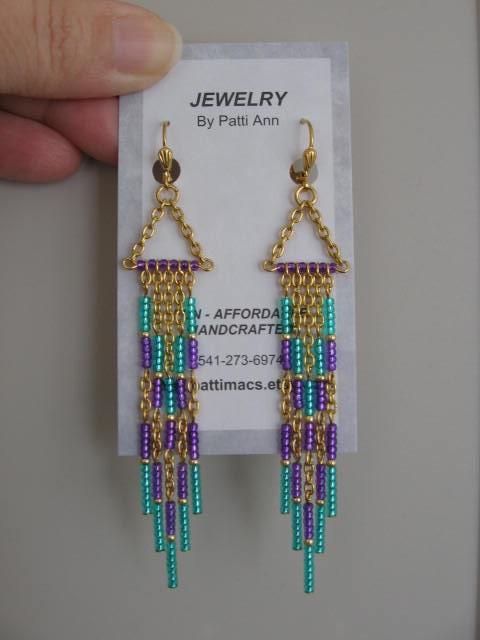 Seed Bead Chain Earrings Modern Native American Style