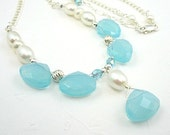 Aqua Necklace, Glass Briolettes, Freshwater Pearls, Sterling Silver