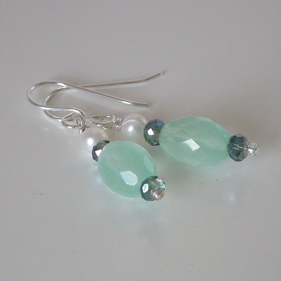 Soft  Green Glass Bead Earrings, White Freshwater Pearls, Crystals, Silver Plated Ear Wires