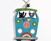 Peace and Love Bus Christmas Clay Cat Folk Art Ornament