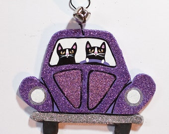 Purple Christmas Volkswagen Bug Clay Cat Folk Art Ornament