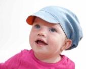 Reversible Denim Hat with orange lining, Newsboy Cap
